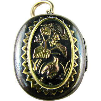 Antique Rare Japanese Locket of Mixed Metals - Gold & Silver Gilded on Copper & Brass - Aesthetic Era Flowers, Birds, Mt Fuji, Boat, Pendant