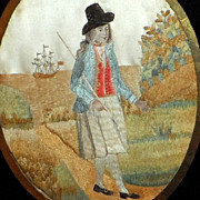 Georgian Silkwork Picture of a Gentleman with a Three-Masted Sailing Ship