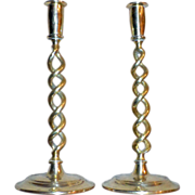 Pair of Victorian Brass and Copper Open Barley-Twist Candlesticks