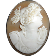 Victorian Cameo Depicting a Classical Woman, Possibly from Greek or Roman Mythology