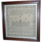 "A Sampler, ""A Representation of Solomon's Temple,"" Dated 1828"