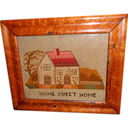 "Victorian 19th Century ""Home Sweet Home"" Motto Sampler with House"