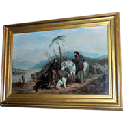 Victorian Highland Sporting Scene with Pony and Dogs by Charles Bilger Spalding (1805-1892)