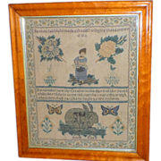 Early 19th Century Motif Sampler with Rabbit