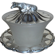 Edwardian Silver Plate and Glass Butter Dish with Cow Filial
