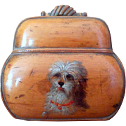 Early Victorian Wooden Coin Purse with a Hand-Painted Portrait of a Terrier