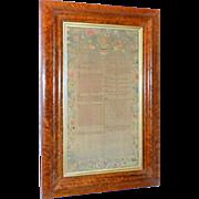 18th Century George II Silk Embroidered Exodus Sampler