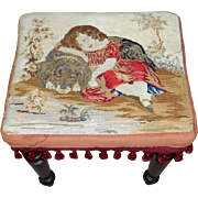 Victorian 19th Century Footstool with Woolwork of Child and Dog