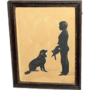 Early 19th Century Silhouette of a Young Scholar and His Dog, by The Hubard Gallery