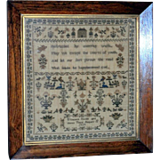 Early Victorian Sampler Finely Embroidered in Silk with Wonderful Motifs and Short Verse (on reserve)
