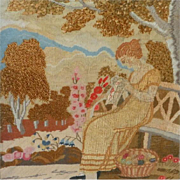 Early Victorian Needlework Picture of a Lady Sewing in Her Garden