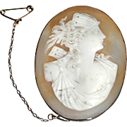 Victorian 19th Century Cameo of a Greek Goddess in 9 Ct. Gold Bezel