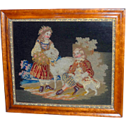 Victorian Woolwork Picture of Children with Dog and Lamb