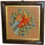 Victorian Woolwork Picture of a Parrot - Red Tag Sale Item