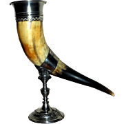 19th Century Cow Horn Drinking Vessel on Silver-Plated Stand (on reserve)