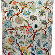 19th Century Crewelwork Curtain Panel