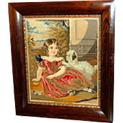 Early Victorian Woolwork Tapestry of a Child with Her Dog