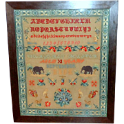Large Victorian Wool Embroidered Sampler Featuring Elephants and Other Motifs