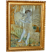 Georgian Silkwork Embroidery of Child and Lamb in Original Carved Giltwood Frame