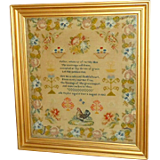 19th Century Mid-Victorian Woolwork Sampler with Chicken and Flowers