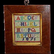 19th Century Victorian Miniature Woolwork Alphabet Sampler