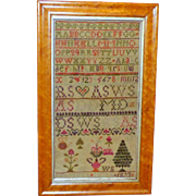Early 19th Century Georgian Scottish Sampler in Bird's Eye Maple Frame