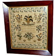 Early 19th Century Regency Sampler in Fine Silk Floss