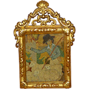 18th Century Georgian Silk and Wool Picture in 14-Carat Gold Hand-Carved Wood Frame