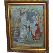 18th Century Georgian Silkwork Picture after Francis Wheatley with Children, Parrots and Rabbits