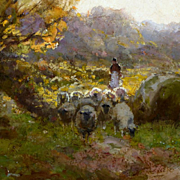 Landscape with Shepherdess and Sheep by John Noble Barlow, RBA, ROI