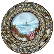 Late Victorian Shell Work Diorama Painted with Watercolor of a Steamship