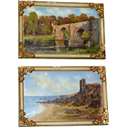 "Pair of Vintage Scottish Paintings:   ""Dunure Castle, Ayrshire"" and ""Leaderfoot Bridge, Roxburghshire"""