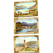 "Trio of Vintage Scottish Paintings:  ""Loch Lomond from Rowardennan,"" ""Old Mar Bridge, Aberdeenshire,"" and Lazaratto Point, Holy Loch"""