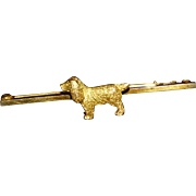 Vintage Gold Spaniel Dog Bar Brooch