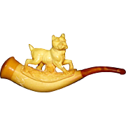 Antique Victorian Meerschaum and Amber Pipe with Carved Terrier Dog