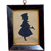 Mid-19th Century Victorian Hand-Cut Silhouette of a Boy and His Pet Bird