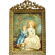 Enchanting Mid-19th Miniature Portrait of Two Children with Birds in Nest, by Maria Remy