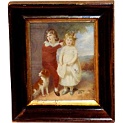 Early 19th Century Miniature French Portrait of Two Children and Their Spaniel, by Andre Leon Larue (Mansion)