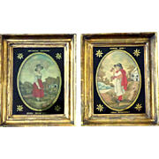 "Pair of Early 19th Century Silkworks by Sisters:  ""Flower Girl"" and ""The Little Gleaner"""