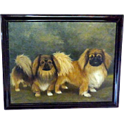 Portrait of Two Pekinese Dogs in a Landscape by Capt. R.A.V. Hamilton