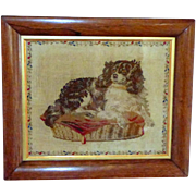 19th Century Needlework Portrait of Dash, Queen Victoria's Pet King Charles Spaniel (on reserve)