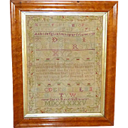 18th Century Silkwork Sampler, Dated 1785