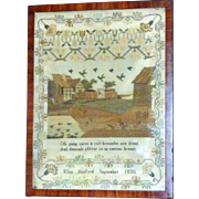 Early 19th Century Silkwork Sampler with a Farmyard Scene
