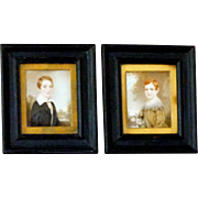 Pair of Early Victorian Century Miniature Portraits of Brothers