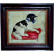 Early Victorian 19th Century Woolwork of a Spaniel on a Cushion