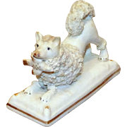 Early Victorian 19th Century Staffordshire Pomeranian on a Base