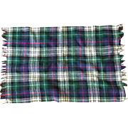 Vintage Small Wool Plaid Travel Throw with Fringe