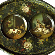 Pair of Victorian Papier Mache Hand-Painted Dishes with Hunting Dogs