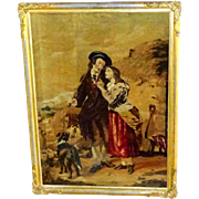 Romantic 19th Century Victorian Crossley Mosaic Wool Tapestry Picture of Scottish Couple with Dog