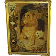 "19th Century Crossley Mosaic Wool Tapestry of Landseer's ""Dignity and Impudence"""